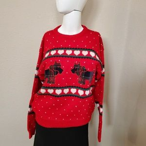 Charter Club Scotty Dogs Hearts Red Wool Sweater